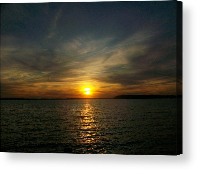 Sunset Lake Waves Acrylic Print featuring the photograph Beauty In The Sky by Tatiana Ashalintubbi