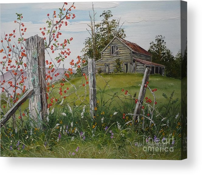 Barn Acrylic Print featuring the painting Berry Barn by Val Stokes