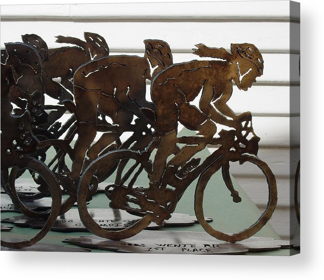 Steel Acrylic Print featuring the sculpture Bicycle Trophies by Steve Mudge