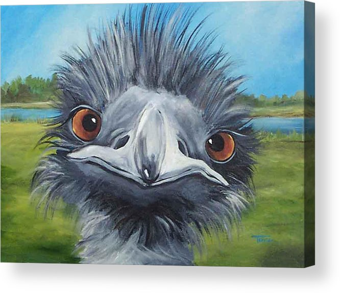 Emu Acrylic Print featuring the painting Big Bird - 2007 by Torrie Smiley