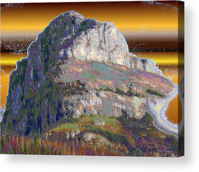 Blue Acrylic Print featuring the painting Big Rock by Wayne Bonney