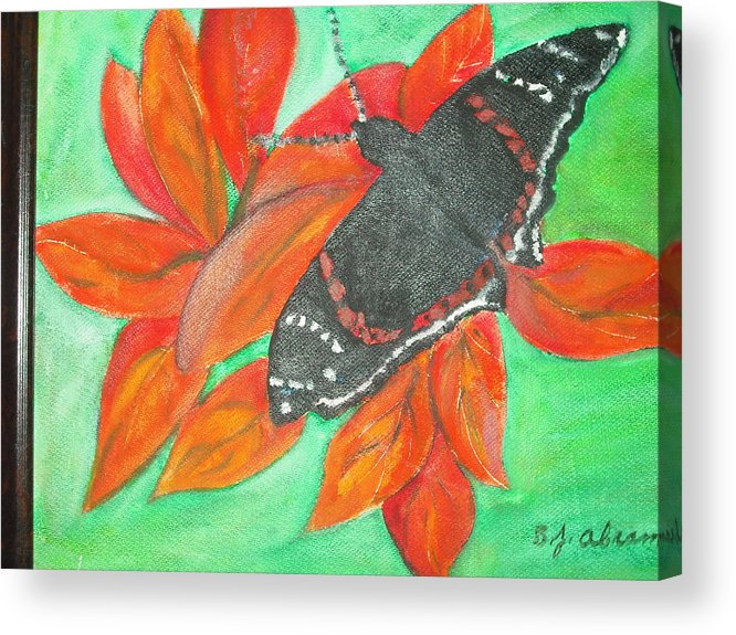 Abstract Acrylic Print featuring the painting Black Butterfly by Betty Abrams