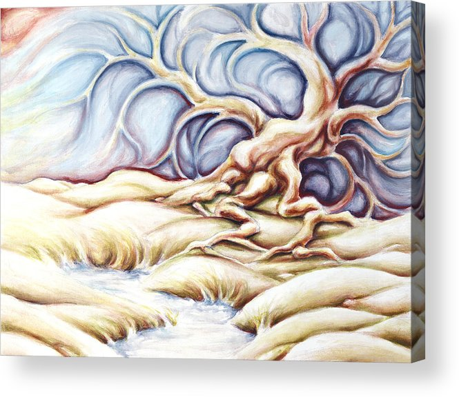 Acrylic Painting Acrylic Print featuring the painting Blonde And Blue by Jennifer McDuffie