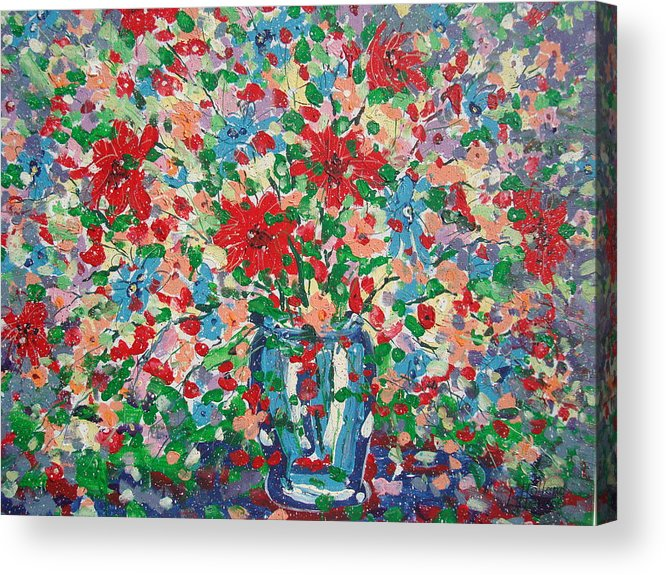 Painting Acrylic Print featuring the painting Blue And Red Flowers. by Leonard Holland