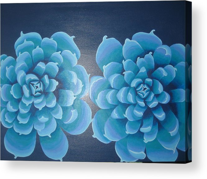 Blue Acrylic Print featuring the painting Blue Autum by Sarah England-Rocca