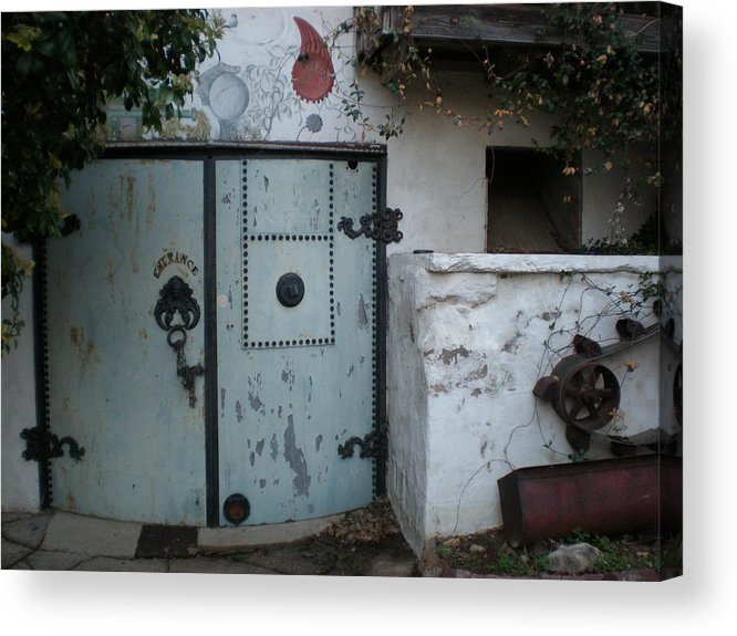 Feed Mill Cafe Acrylic Print featuring the photograph Blue Door by Sheep McTavish