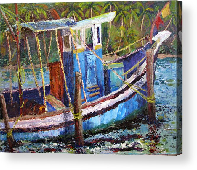 Fishing Acrylic Print featuring the painting Blue Fishing Boat by Art Nomad Sandra Hansen