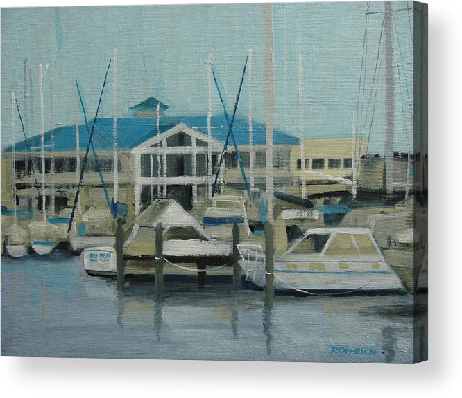 Boats Yachts Acrylic Print featuring the painting Blue Marina by Robert Rohrich