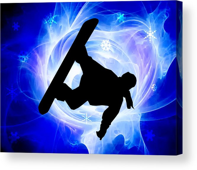 Snowboard Acrylic Print featuring the painting Blue Swirl Snowstorm by Elaine Plesser