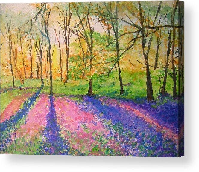 Landscape Acrylic Print featuring the painting Bluebell Wood by Lizzy Forrester