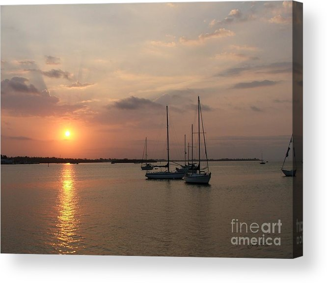 Sunrise Acrylic Print featuring the photograph Boats At Sunrise by Judy Waller