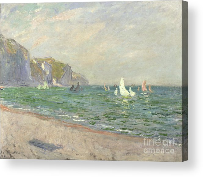 Boats Acrylic Print featuring the painting Boats Below The Cliffs At Pourville by Claude Monet