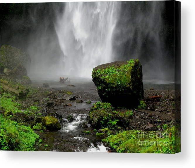 Waterfall Acrylic Print featuring the photograph Bottom Of Wakeena Falls by PJ Cloud
