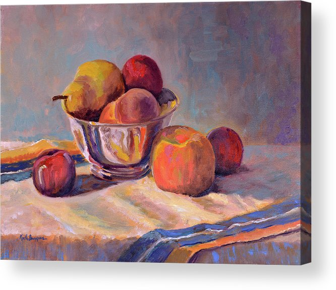 Still Acrylic Print featuring the painting Bowl With Fruit by Keith Burgess