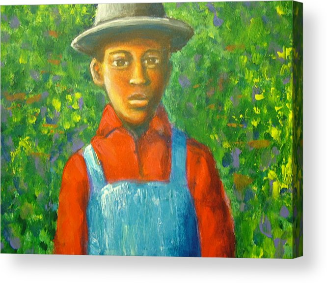 Painting Acrylic Print featuring the painting 'boy In The Woods' by Jan Gilmore