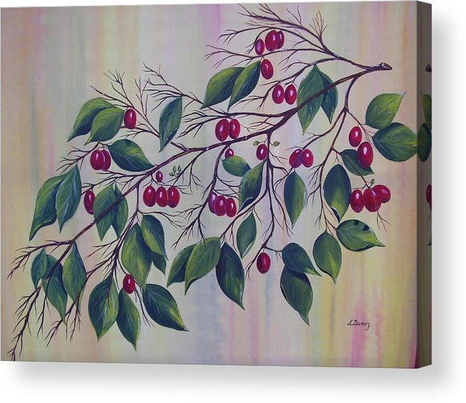 Fruits Acrylic Print featuring the painting Branch Of Spice by Murielle Hebert