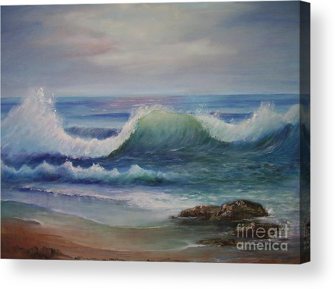 Seascape Acrylic Print featuring the painting Breakers by Rita Palm
