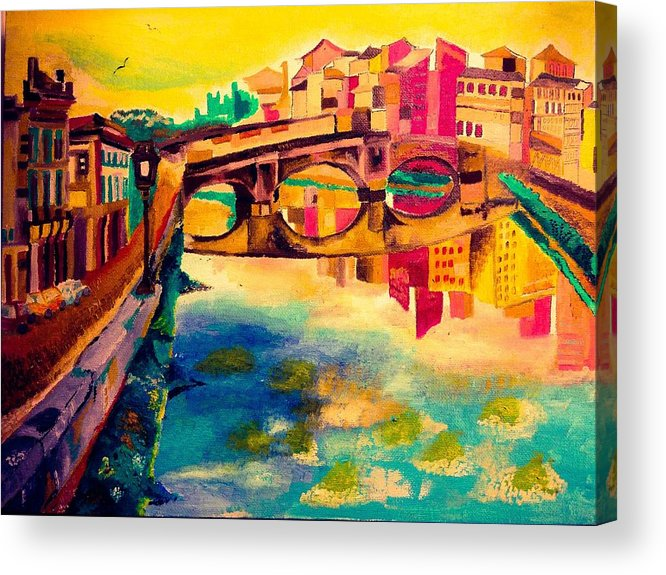 Bridge Acrylic Print featuring the painting Bridge by Ashes Rose