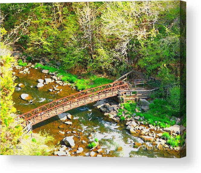 Rocks Acrylic Print featuring the photograph Bridge At The Falls by Judy Waller