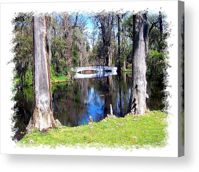 Bridge Acrylic Print featuring the photograph Bridge Over Pond by Ralph Perdomo