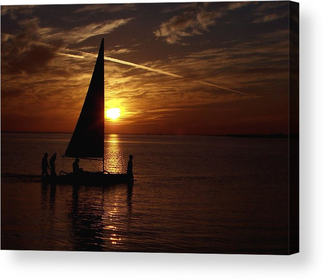 Waterscapes Acrylic Print featuring the photograph Bringing The Boat Home by Johann Todesengel