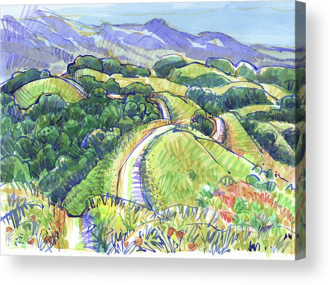 Landscape Acrylic Print featuring the painting Briones Crest In May, Lafayette, Ca by Judith Kunzle