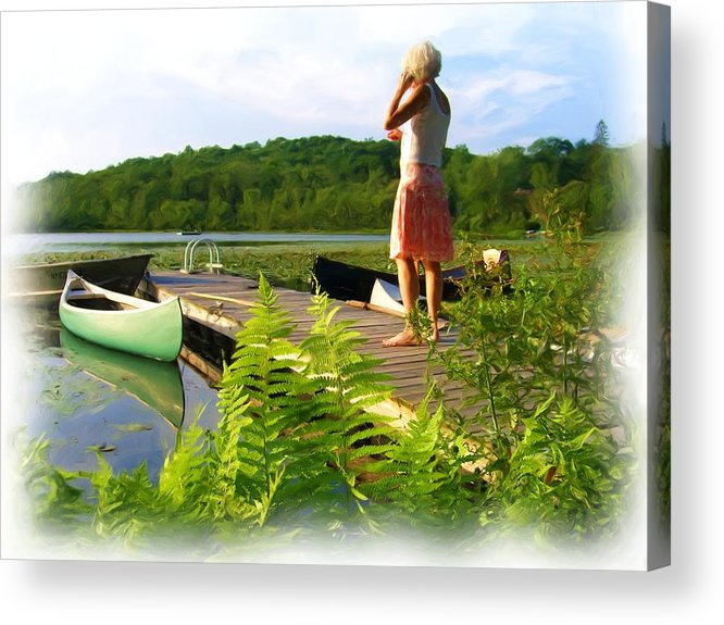 Landscape With Person Acrylic Print featuring the painting Bryant Pond by Jonathan Galente