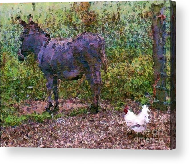 Buddies Take A Walk Acrylic Print featuring the painting Buddies Take A Walk by Methune Hively