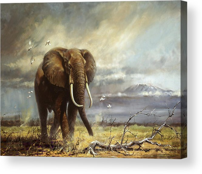 Amboseli Acrylic Print featuring the painting Bull Elephant Under Kilimanjaro by Silvia Duran