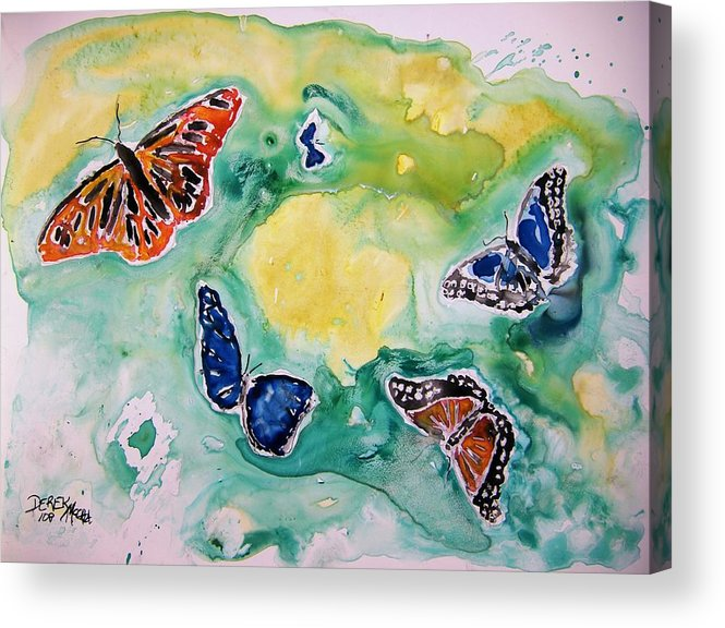 Watercolour Acrylic Print featuring the painting Butterflies by Derek Mccrea