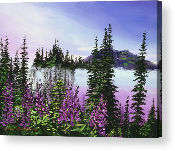Mountains Acrylic Print featuring the painting Canadian Sunrise by David Lloyd Glover