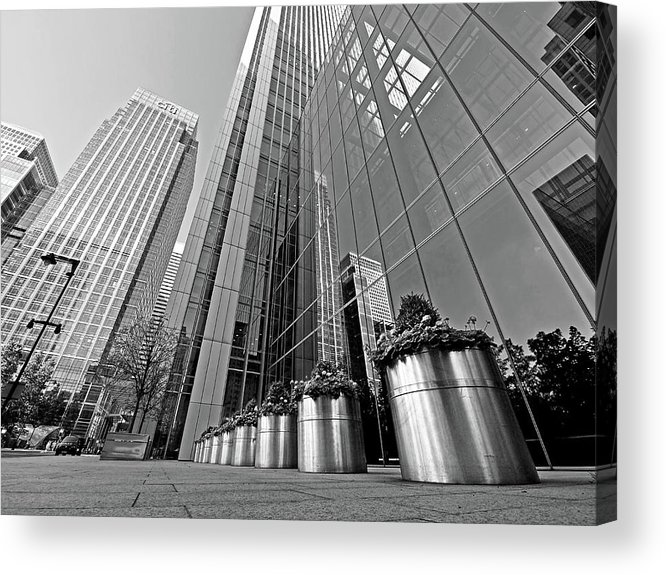 London Acrylic Print featuring the photograph Canary Wharf Financial District In Black And White by Gill Billington