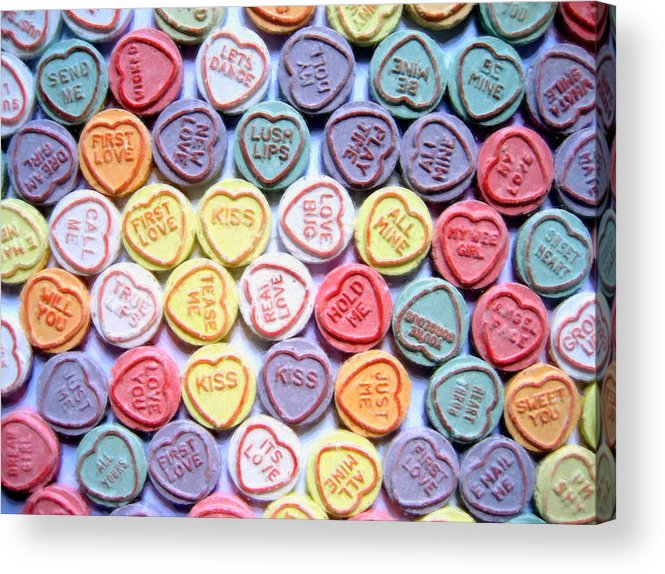 Love Hearts Acrylic Print featuring the painting Candy Love by Michael Tompsett