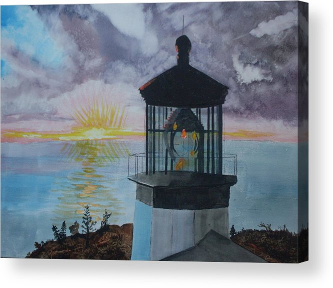 Lighthouse Acrylic Print featuring the painting Cape Meares Lighthouse Oregon by Warren Thompson