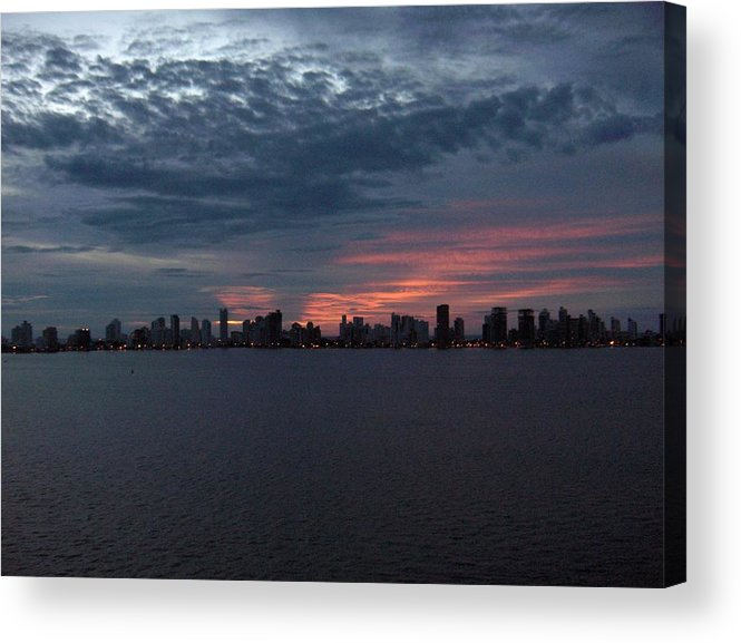 Cartagena Acrylic Print featuring the photograph Cartagena Colombia At Sunset by Janet Hall