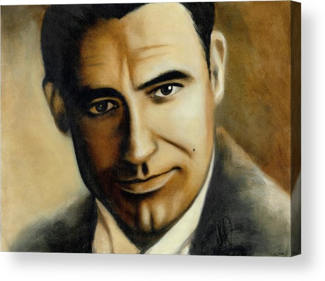 Portrait Acrylic Print featuring the painting Cary Grant by Elizabeth Silk