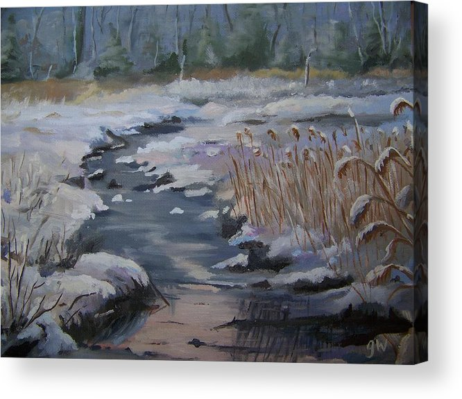Landscape Acrylic Print featuring the painting Cattus Island Snow Storm by Georgeanne Wayman