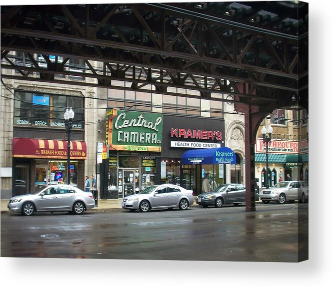 Chicago Acrylic Print featuring the photograph Central Camera On Wabash Ave by Anita Burgermeister