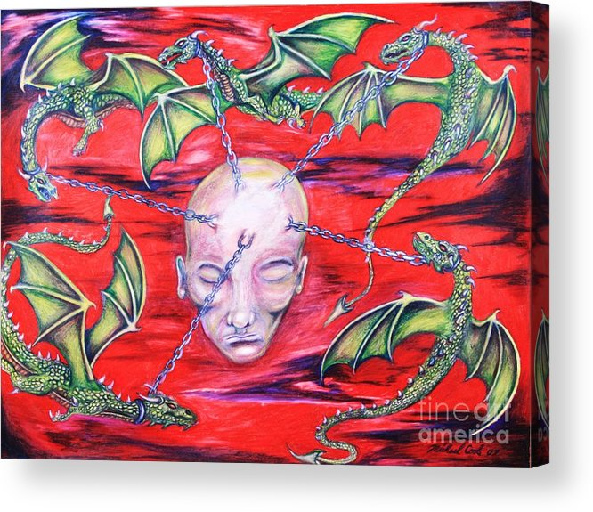 Dragons Fantasy Surreal Acrylic Print featuring the drawing Chained by Michael Cook
