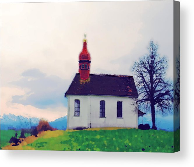 Landscape Acrylic Print featuring the photograph Chapel On A Hill by Chuck Shafer