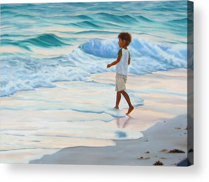 Child Acrylic Print featuring the painting Chasing The Waves by Lea Novak