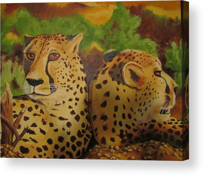 Cheetah Acrylic Print featuring the painting Cheetah 2 by Heather Bolliger
