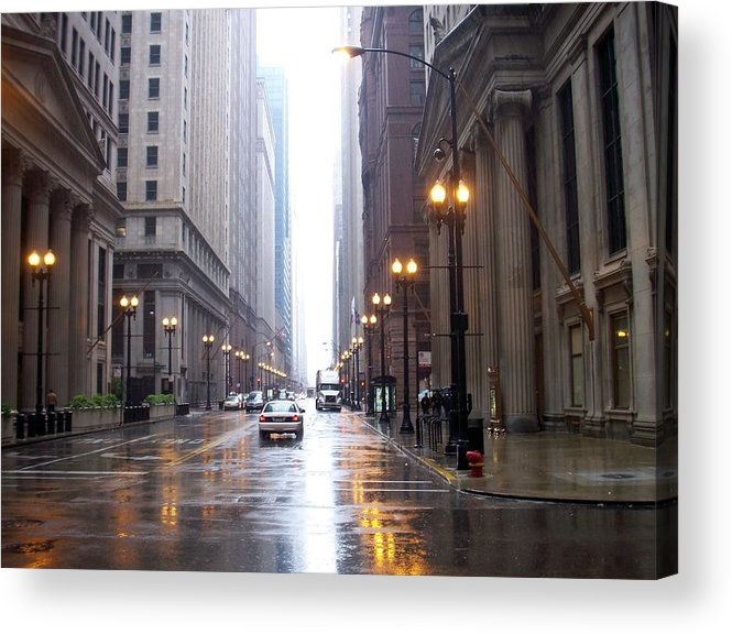 Chicago Acrylic Print featuring the photograph Chicago In The Rain by Anita Burgermeister