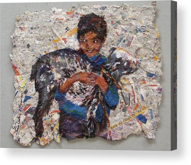 Goat Acrylic Print featuring the painting Child With Goat On Handmade Paper by Art Nomad Sandra Hansen