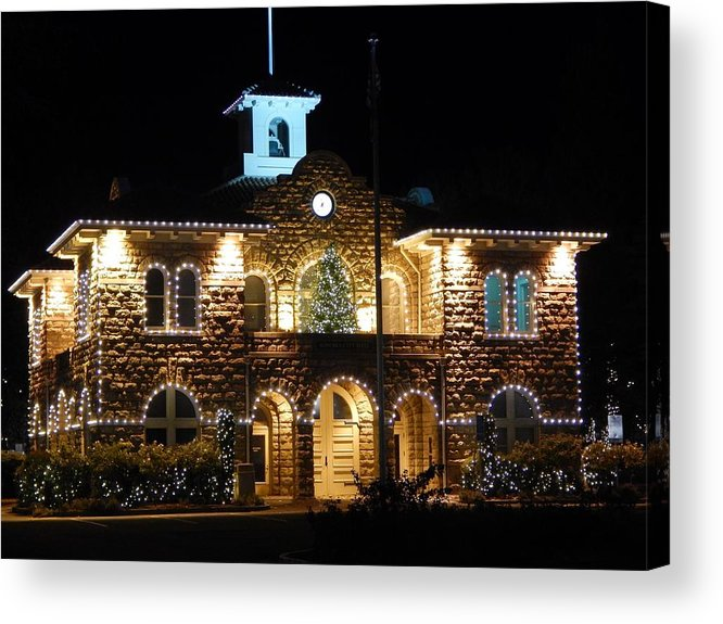 Acrylic Print featuring the photograph Christmas Lights In Sonoma, California by Glen Faxon