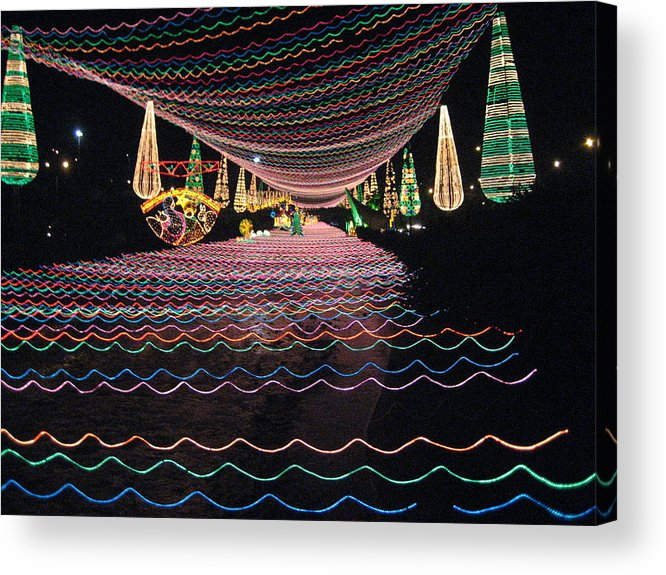 Night Scene With Illuminating Lights Acrylic Print featuring the photograph Christmas Lights Over The River by Ileana Carreno