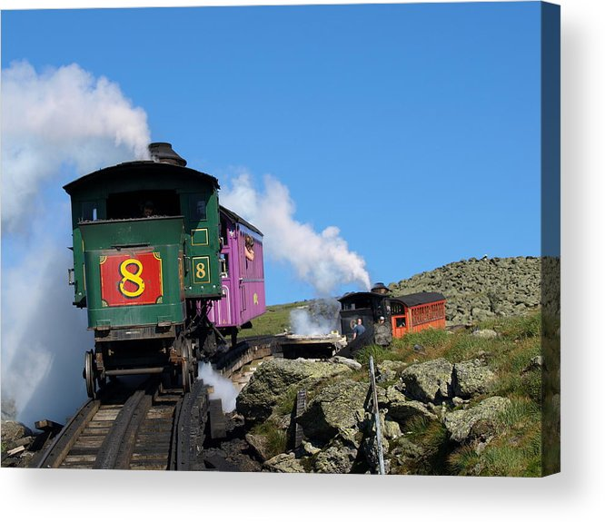 Trains Acrylic Print featuring the photograph Chugging Up by Peter Gray