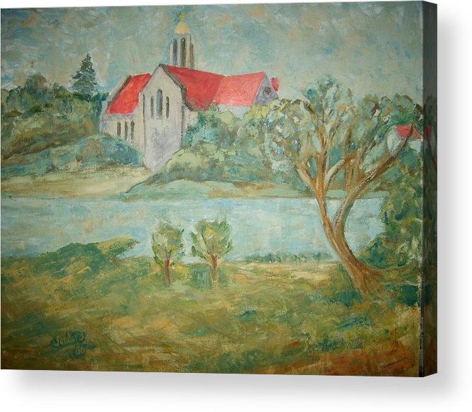 Landscape Churches River Trees Acrylic Print featuring the painting Church Across River by Joseph Sandora Jr