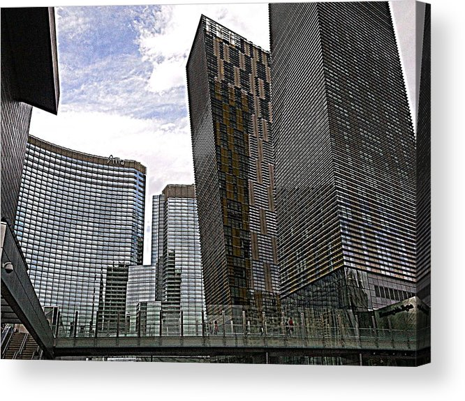Architecture Acrylic Print featuring the photograph City Center At Las Vegas by Karen J Shine