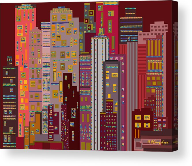 Red Acrylic Print featuring the digital art City Of Night by Helene Champaloux-Saraswati